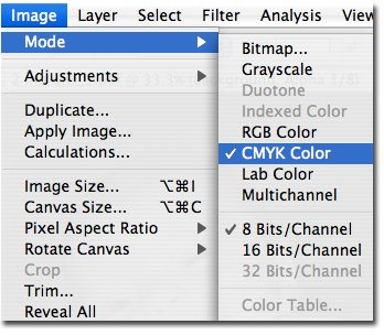 Instructions on to how change your color mode to CMYK within Photoshop