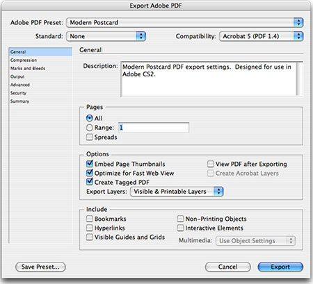 save export settings for indesign modern postcard rh modernpostcard com Adobe Photoshop Adobe Lightroom