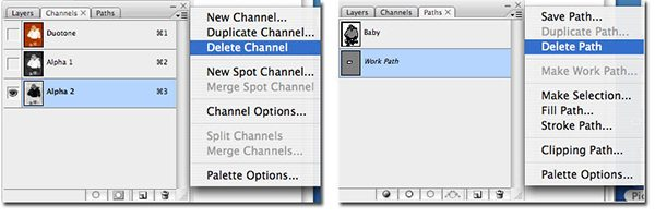 Instructions on how to delete Alpha Channels prior to saving
