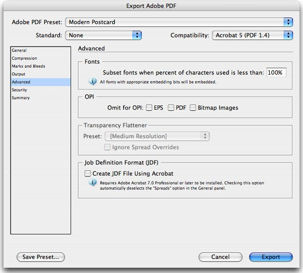 Save / Export Settings for InDesign| Modern Postcard
