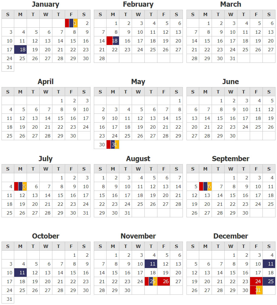 Modern Postcard 2021 Holiday Schedule