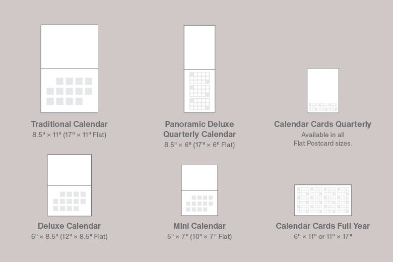 Many types of calendar sizes to choose from