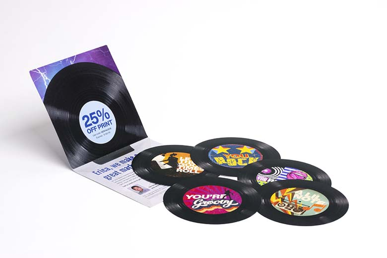 Custom print direct mail piece of records by Modern Postcard.