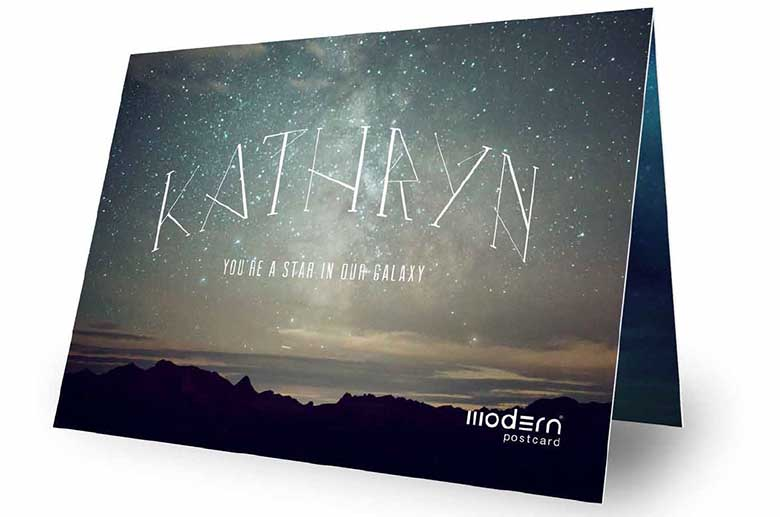 Personalized galaxy themed greeting card created with VDP by Modern Postcard.