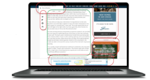 Ads wrapped around content get low click rates