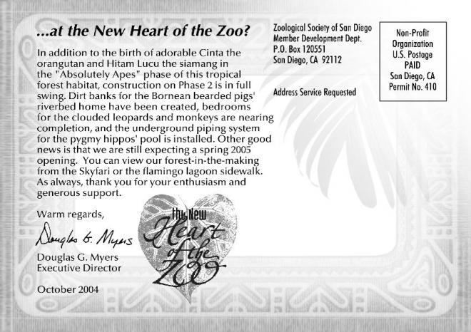 San Diego Zoo Customer Example - Mailing Side